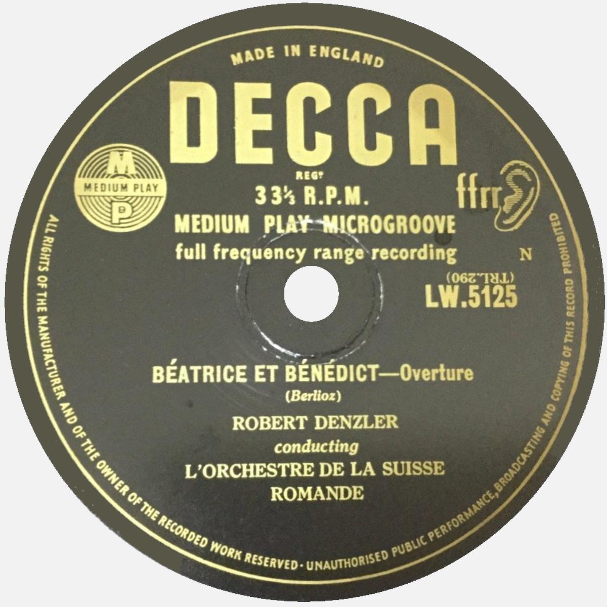 Étiquette du verso du disque Decca London LW 5125, Cliquer sur la photo pour une vue agrandie