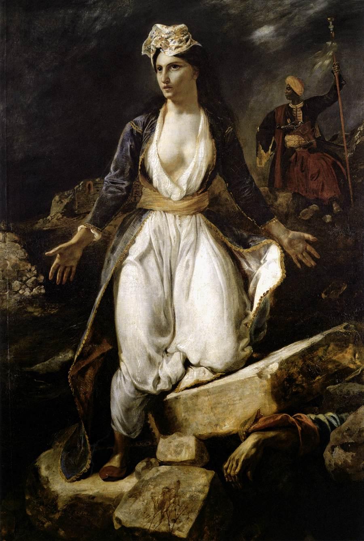 Peinture d'Eugène Delacroix La Grèce sur les ruines de Missolonghi, Cliquer sur la photo pour une vue agrandie et quelques infos