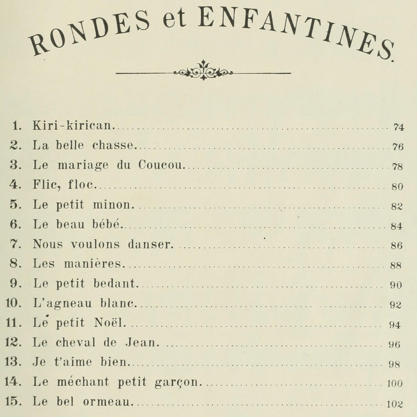 seconde partie du recueil «<i>Chansons populaires-romandes - Rondes et Enfantines</i>» publié par l'éditeur W.Sandoz à Neuchâtel