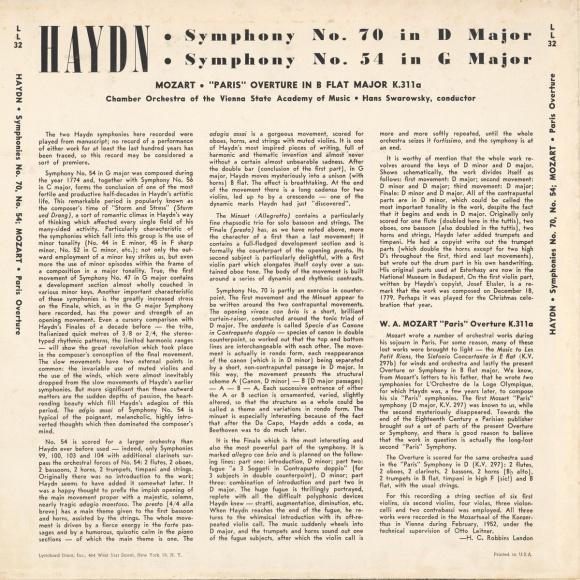 Verso de la pochette du disque Lyrichord LL 32