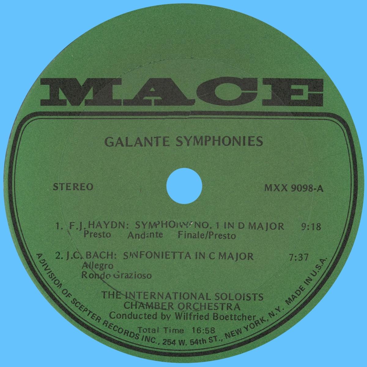 Étiquette recto du disque MACE 9098