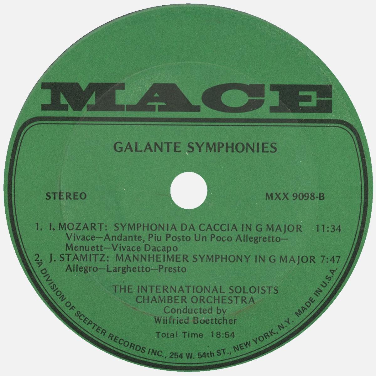 Étiquette verso du disque MACE 9098