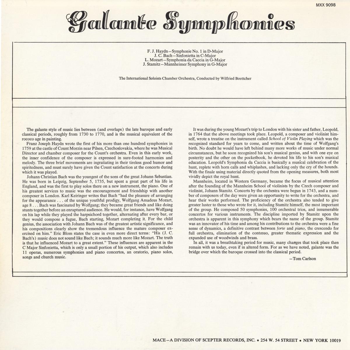 Verso de la pochette du disque MACE 9098