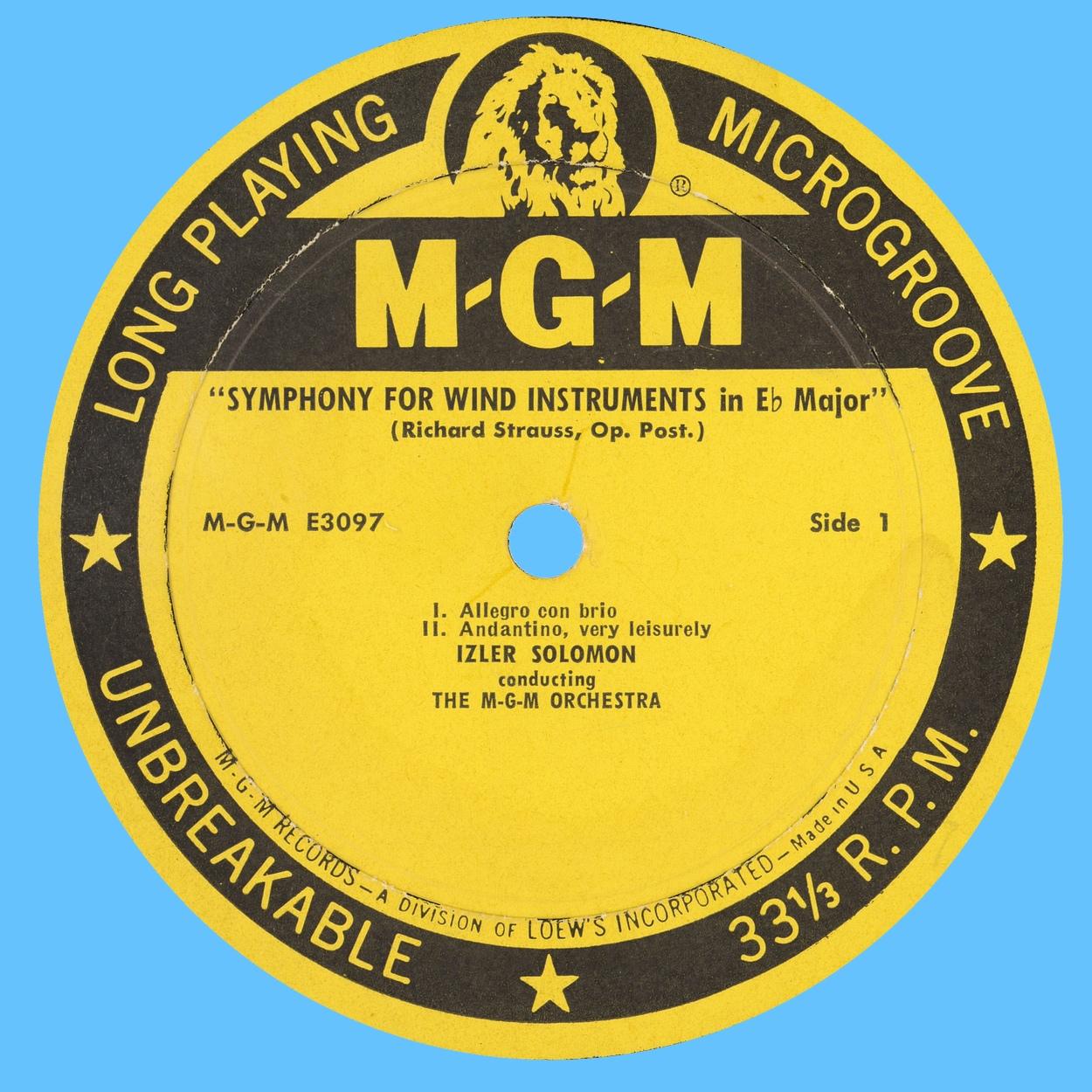 Étiquette recto du disque MGM Records E 3097