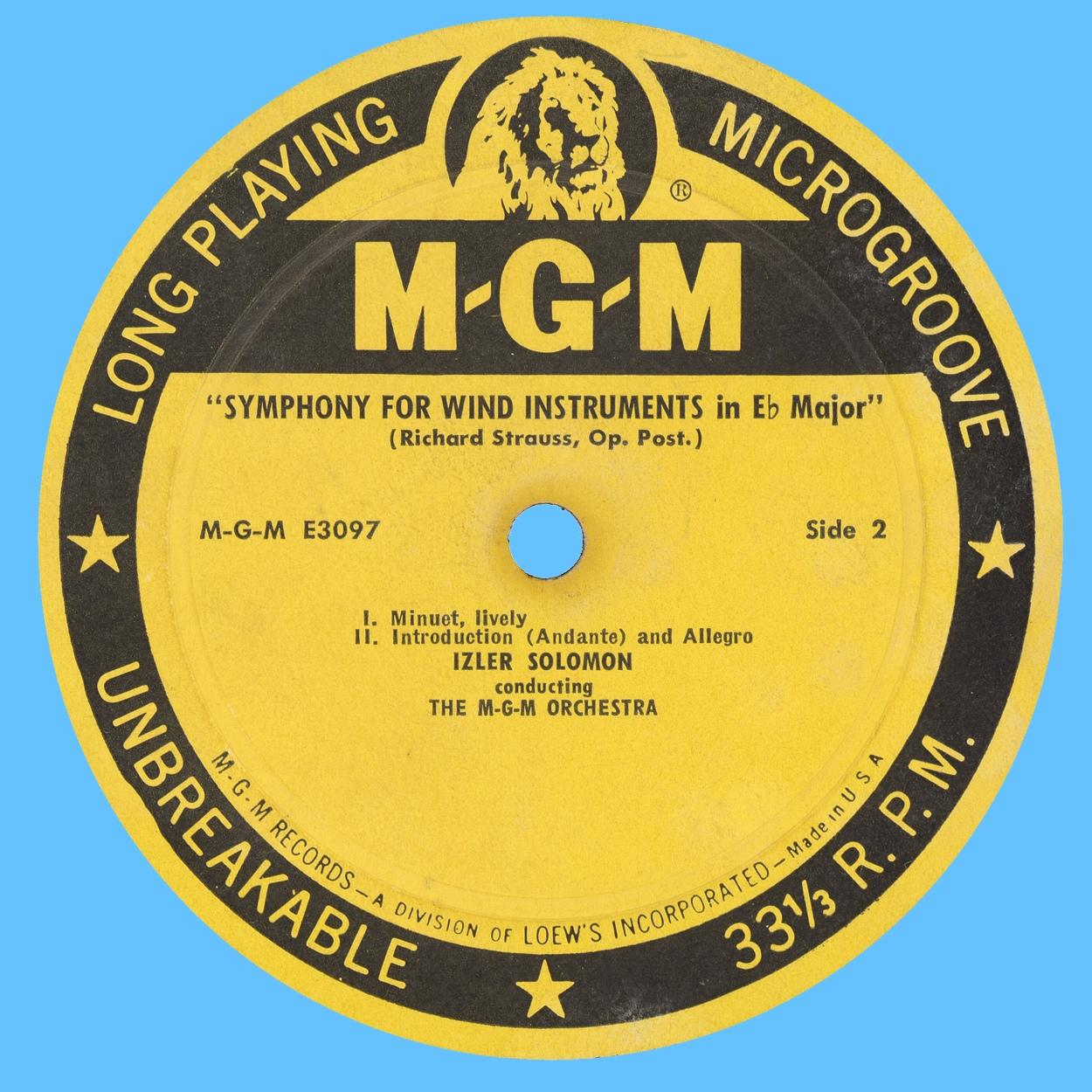 Étiquette verso du disque MGM Records E 3097