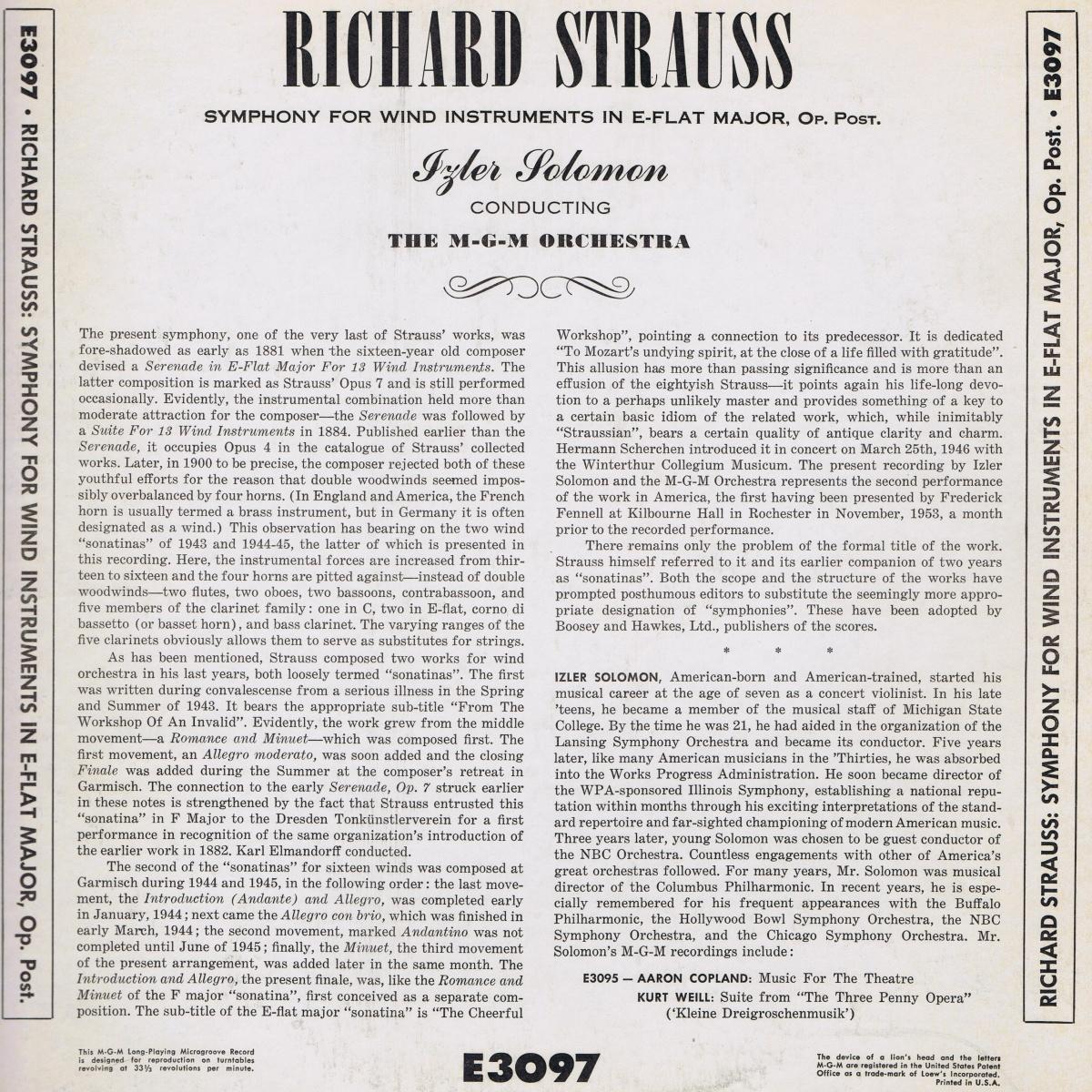 Verso de la pochette du disque MGM Records E 3097