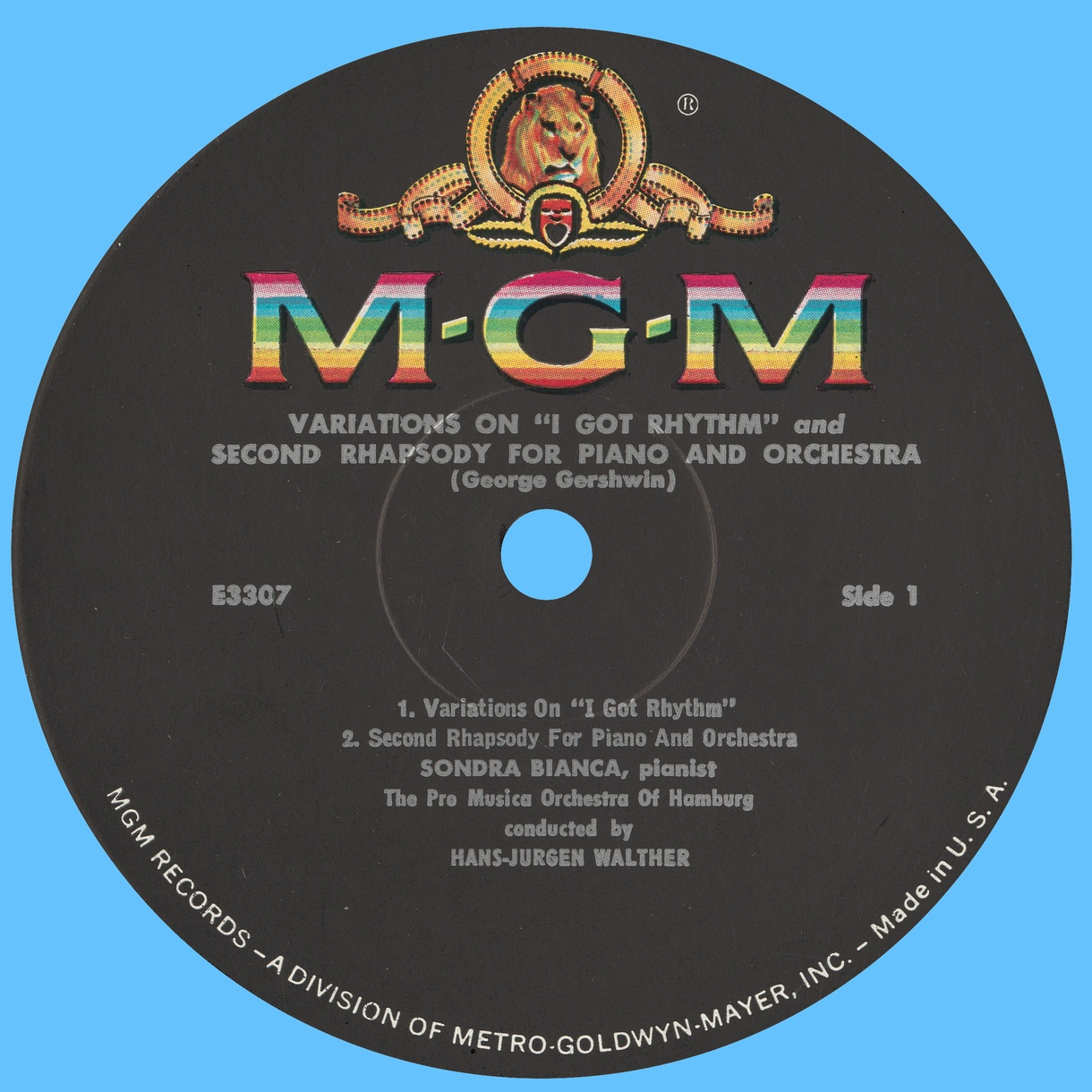 Étiquette recto du disque Metro Goldwyn Mayer MGM 3307