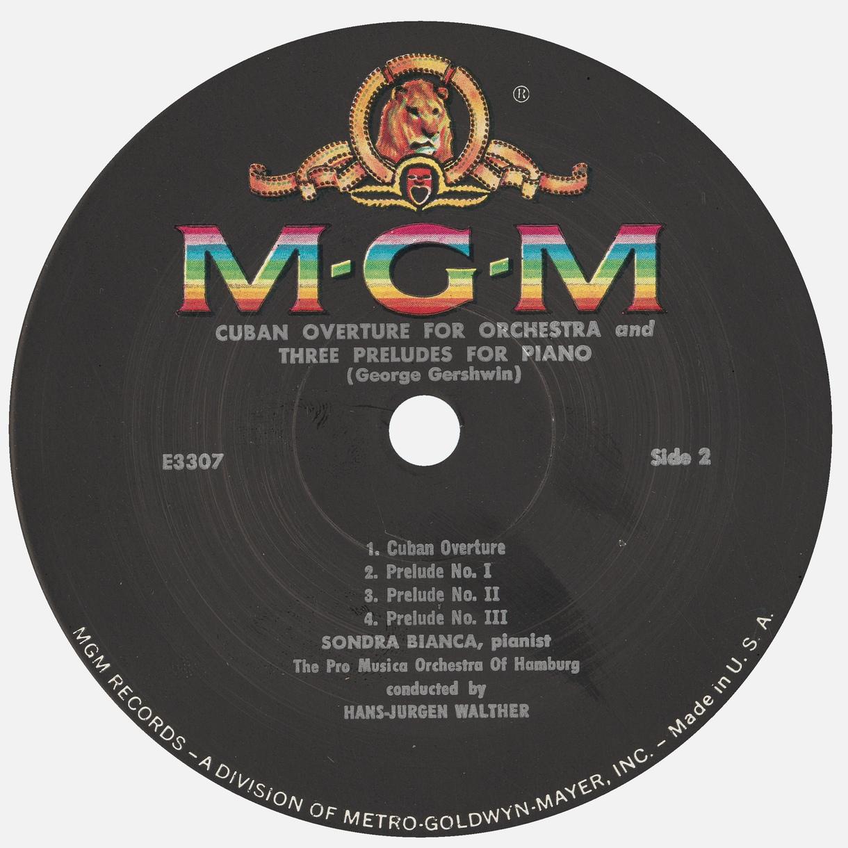 Étiquette verso du disque Metro Goldwyn Mayer MGM 3307, Cliquer sur la photo pour une vue agrandie
