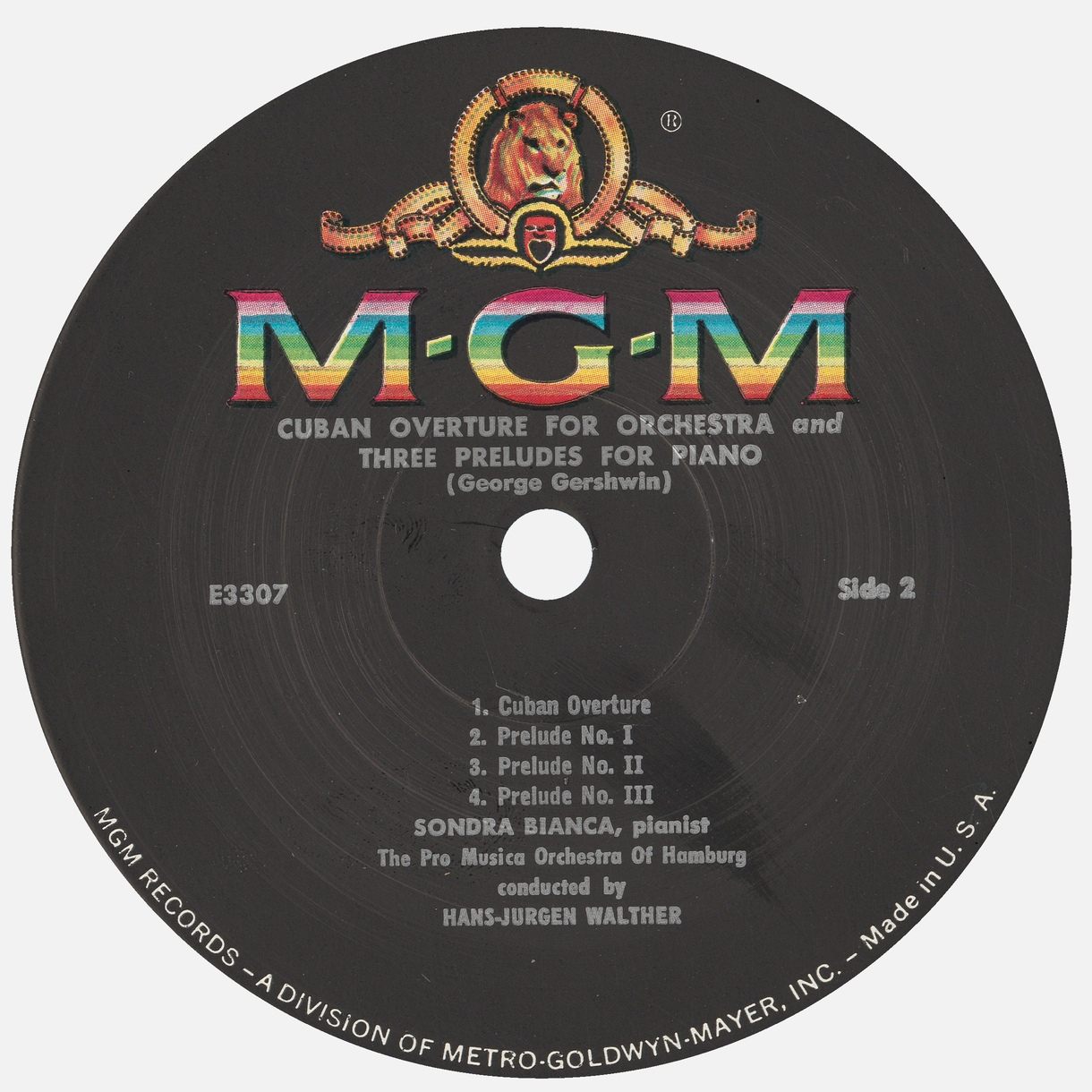 Étiquette verso du disque Metro Goldwyn Mayer MGM 3307