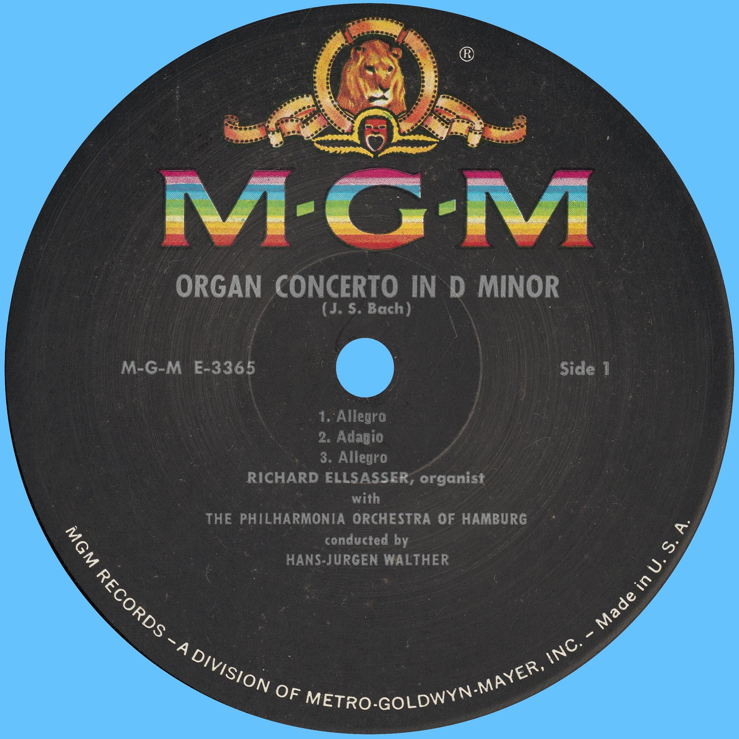 Disque Metro Goldwin Mayer MGM E 3365, étiquette recto
