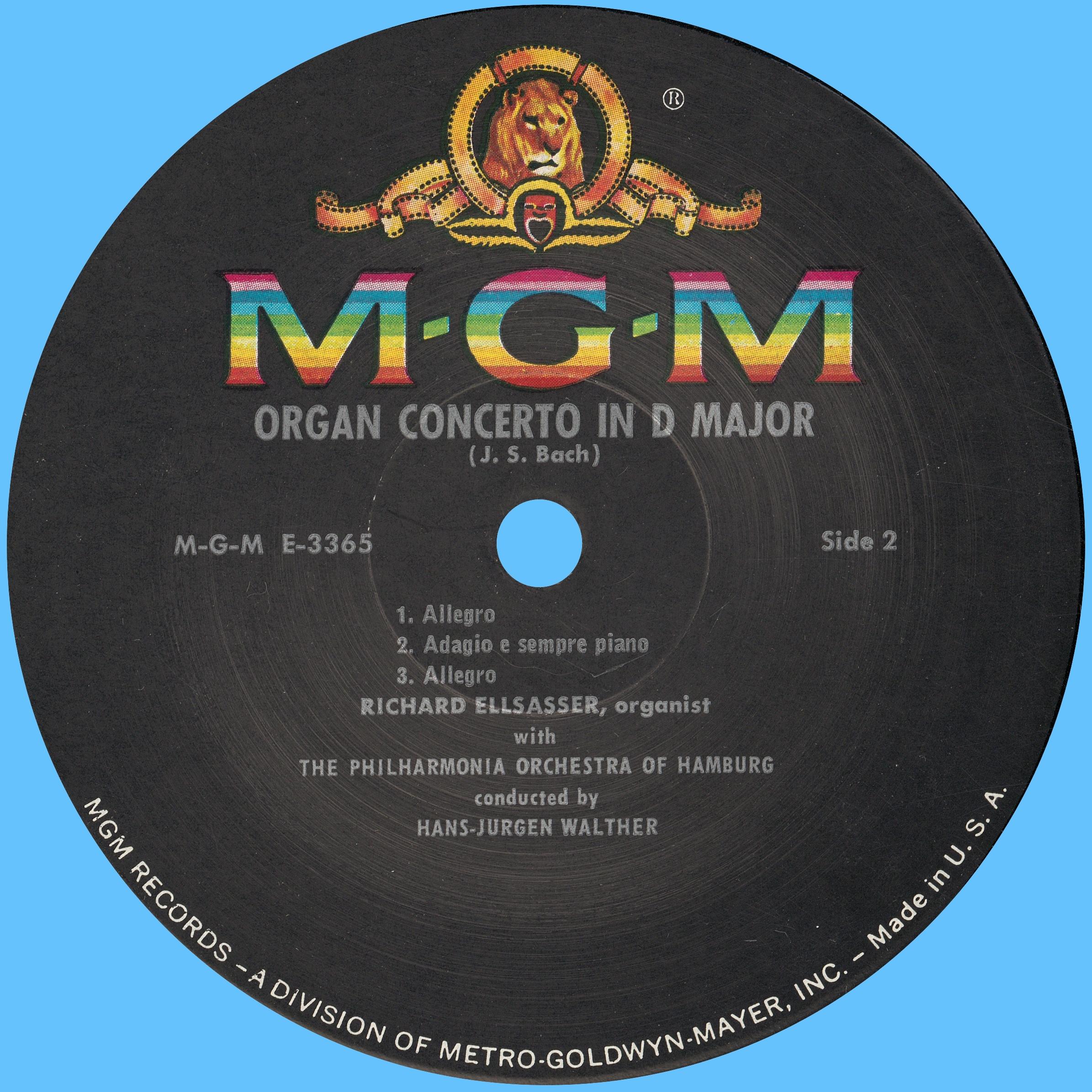Disque Metro Goldwin Mayer MGM E 3365, étiquette verso