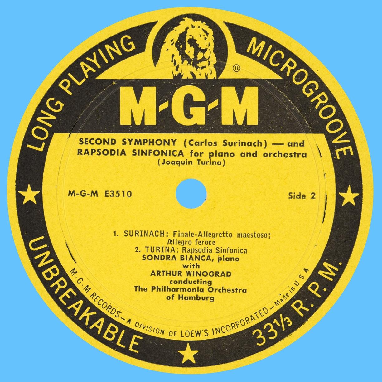 Étiquette recto du disque Metro Goldwyn Mayer MGM 3510