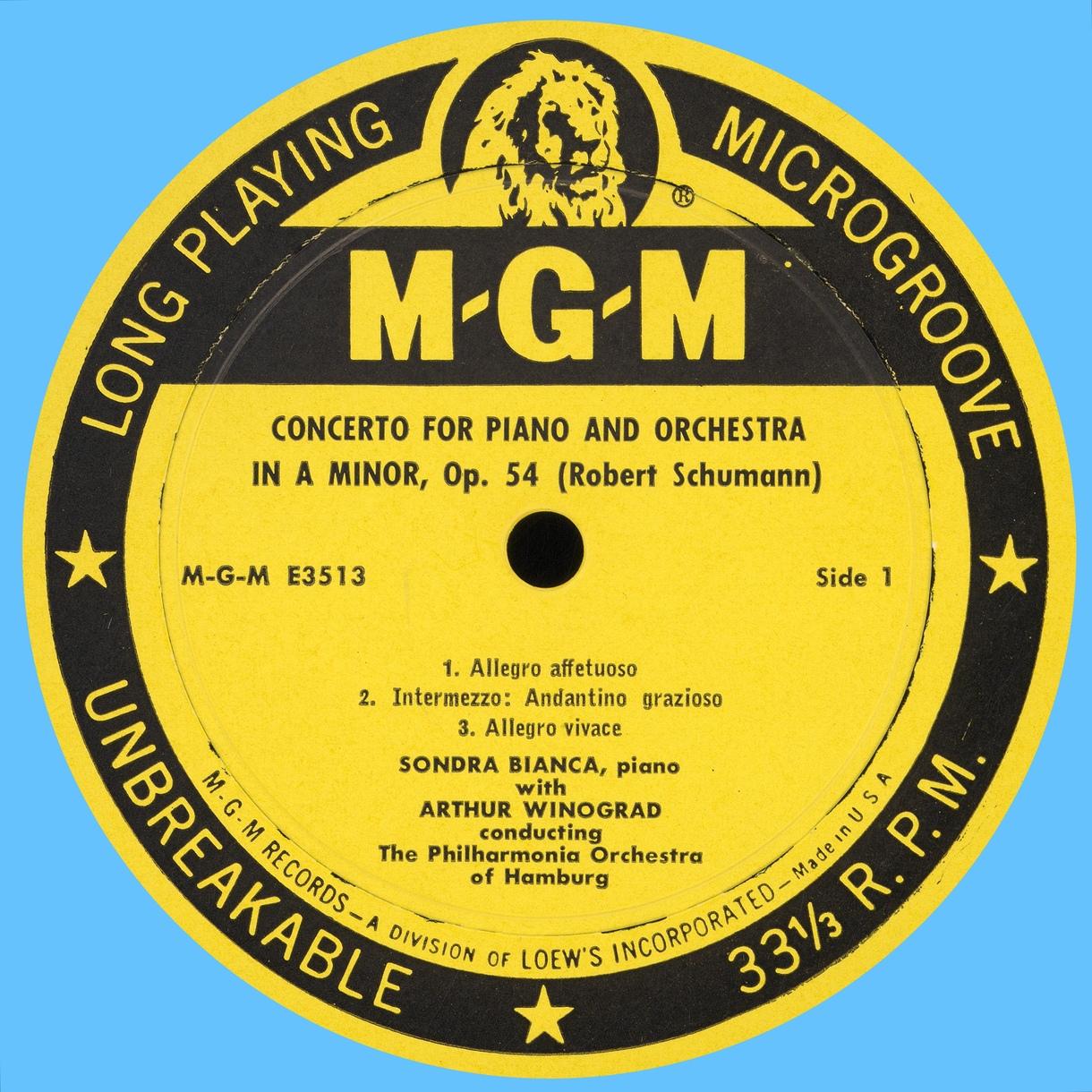 Étiquette recto du disque MGM E 3513