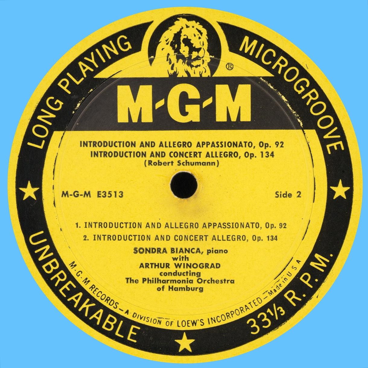 Étiquette verso du disque MGM E 3513