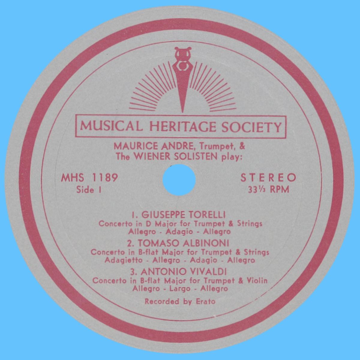 Étiquette recto du disque Musical Heritage Socienty Inc. MHS 1189