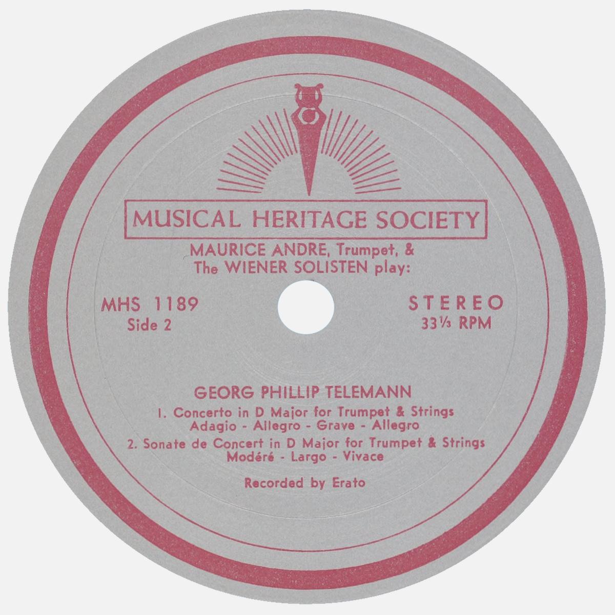 Étiquette verso du disque Musical Heritage Socienty Inc. MHS 1189