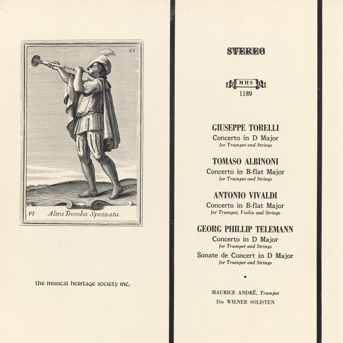 Recto de la pochette du disque Musical Heritage Socienty Inc. MHS 1189