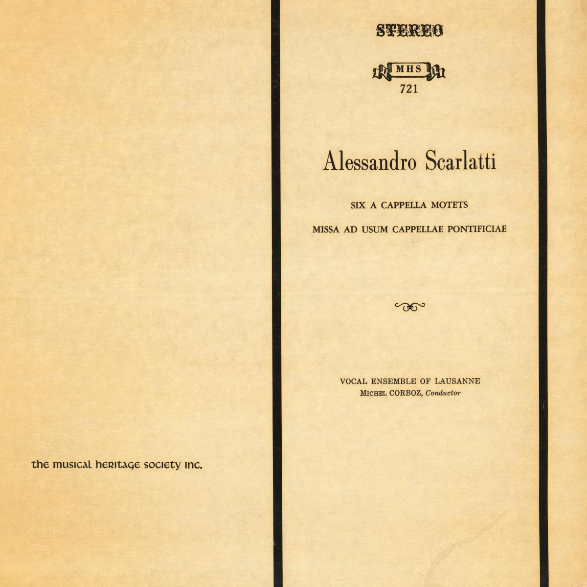 "Recto de la pochette du disque ""The Musical Heritage Society Inc."" MHS 721"