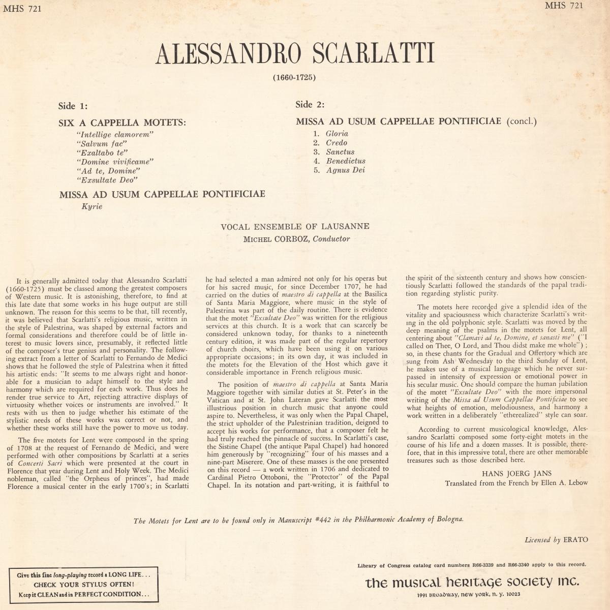 "Verso de la pochette du disque ""The Musical Heritage Society Inc."" MHS 721"