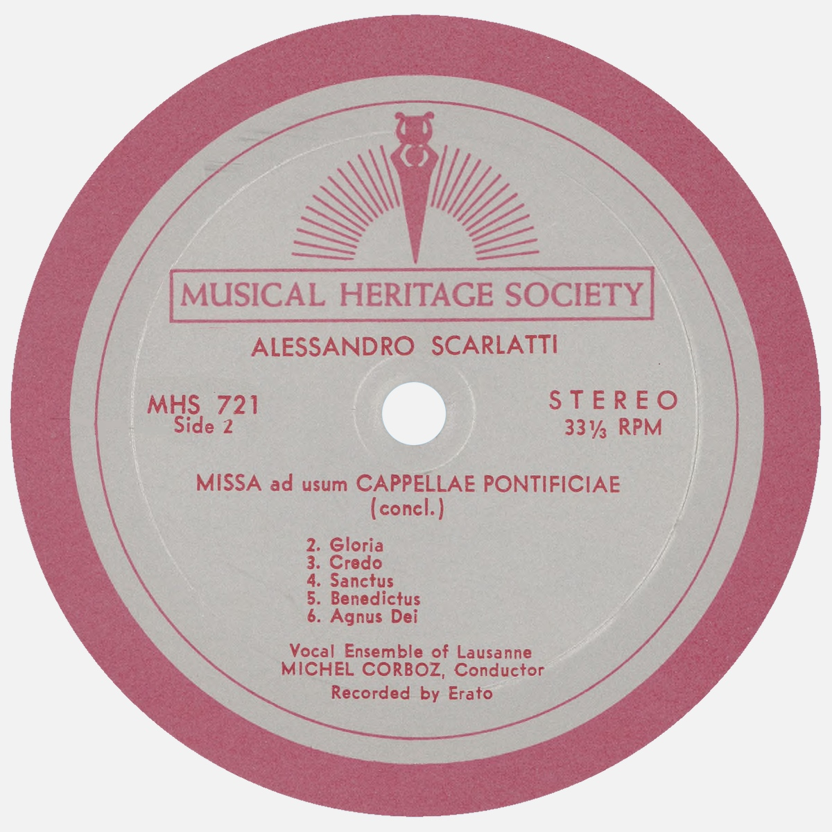 """Étiquette verso du disque """"The Musical Heritage Society Inc."""" MHS 721"""
