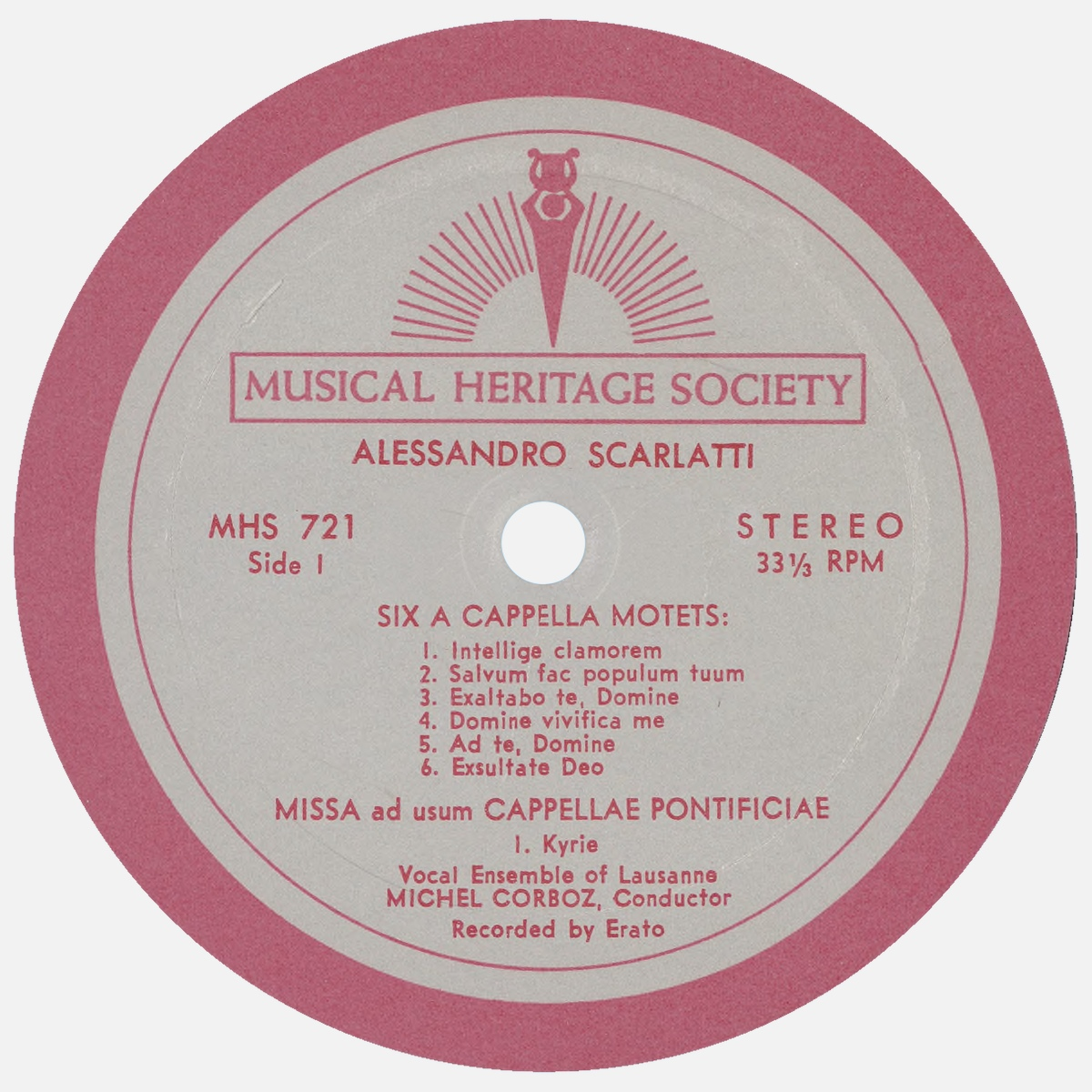 """Étiquette recto du disque """"The Musical Heritage Society Inc."""" MHS 721"""