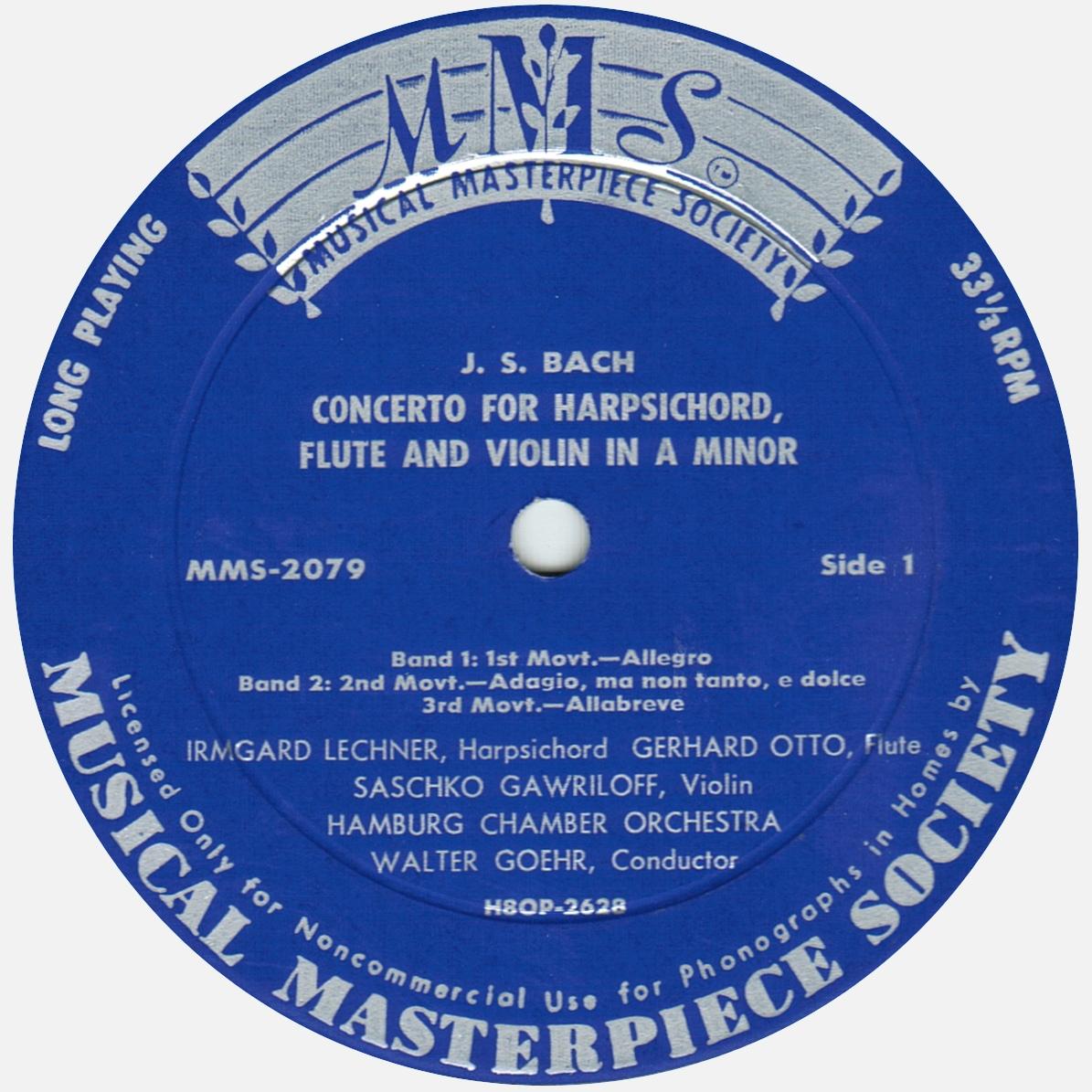 Étiquette recto du disque MMS-2079