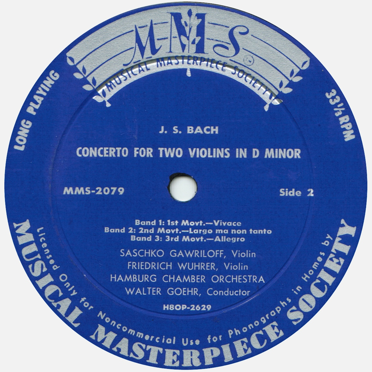 Étiquette verso du disque MMS-2079