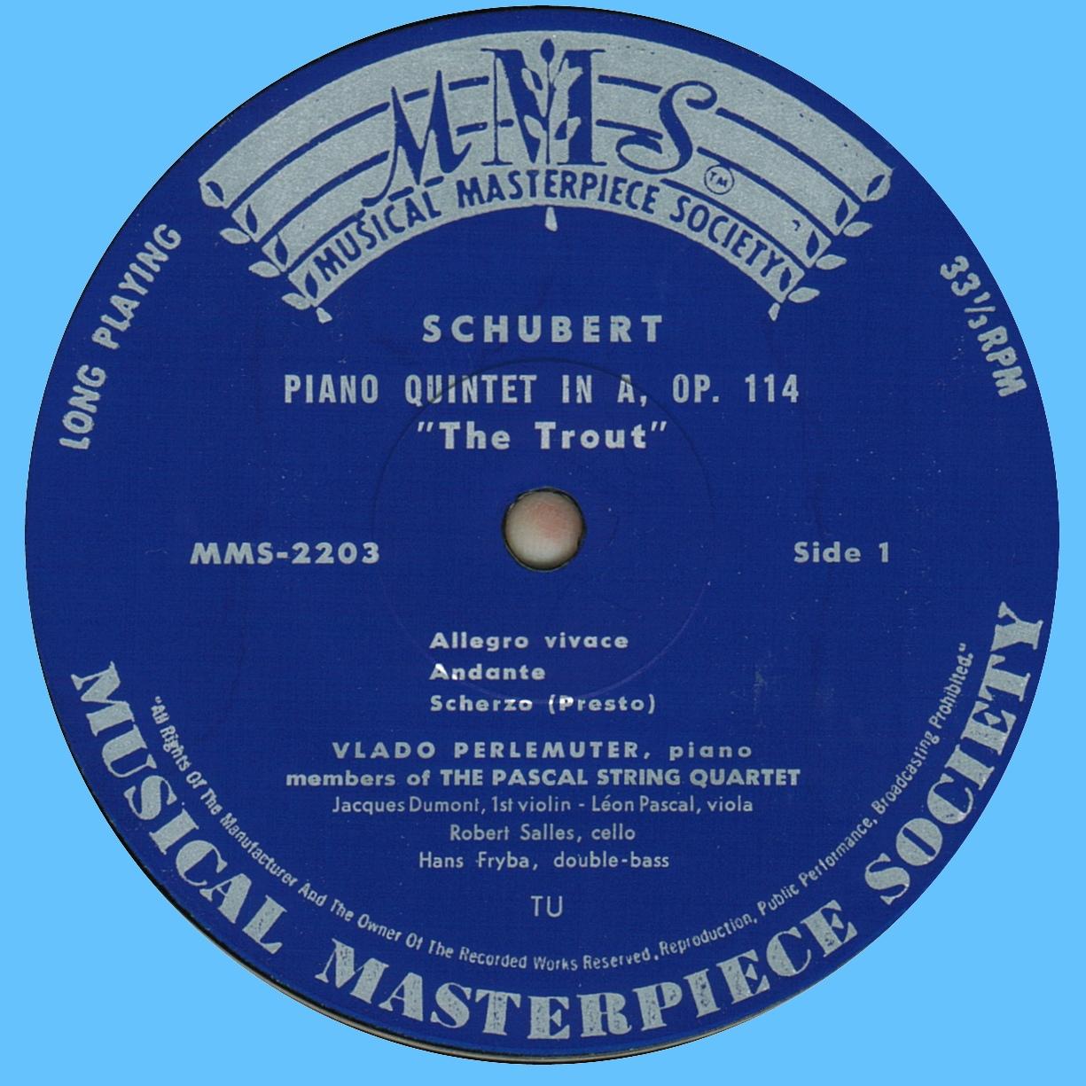 Étiquette recto du disque MMS-2003 de la Musical Masterpiece Society, gravé et pressé chez Turicaphon