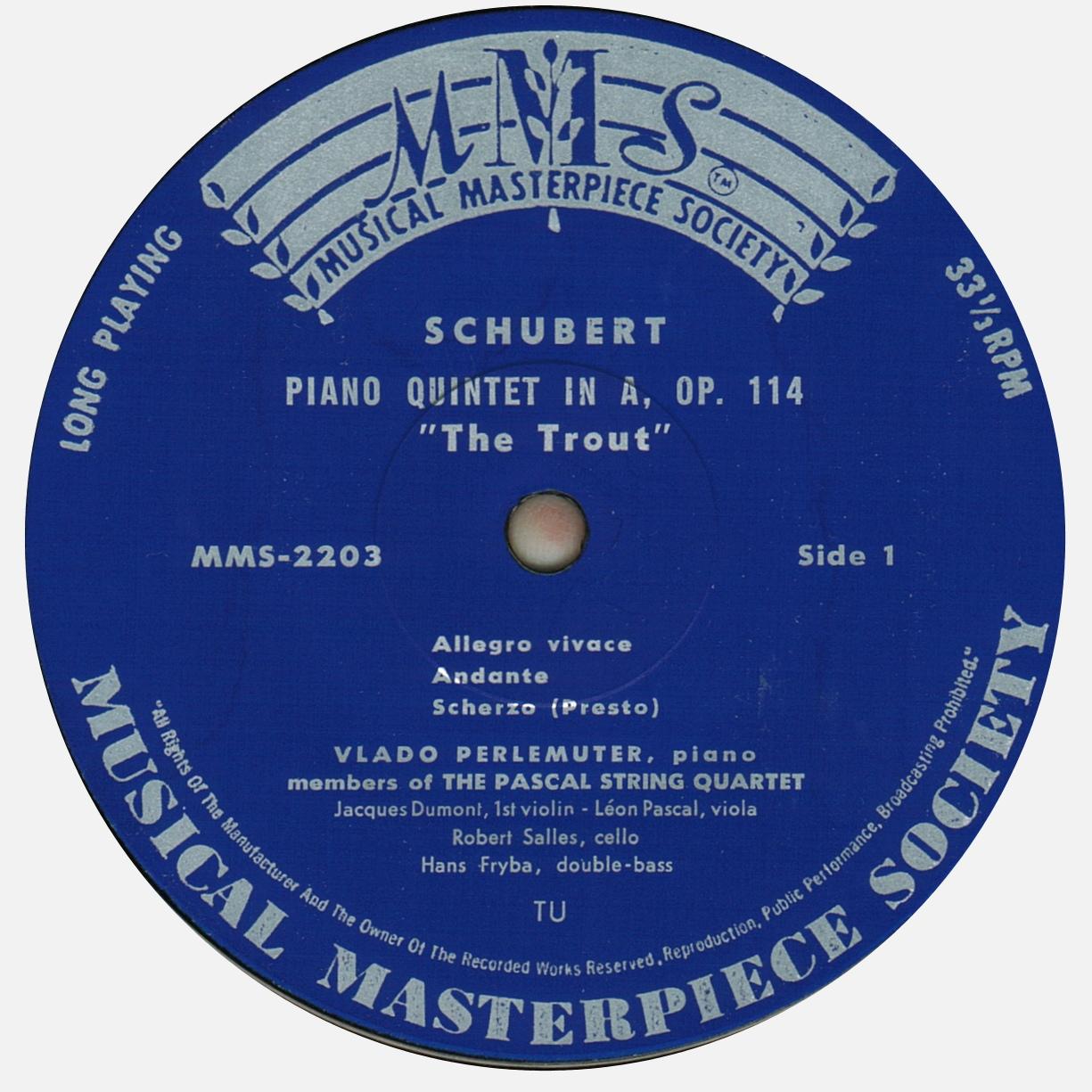 Étiquette recto du disque MMS-2003 de la Musical Masterpiece Society, gravé et pressé chez Turicaphon (http://www.turicaphon.ch/), Cliquer sur la photo pour une vue agrandie et quelques infos