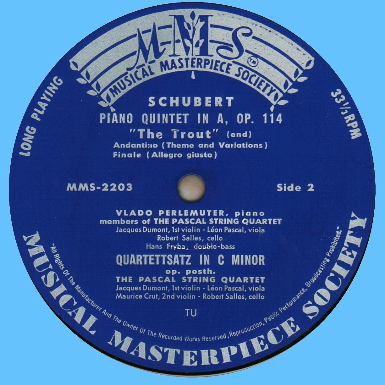 Étiquette verso du disque MMS-2003 de la Musical Masterpiece Society, gravé et pressé chez Turicaphon
