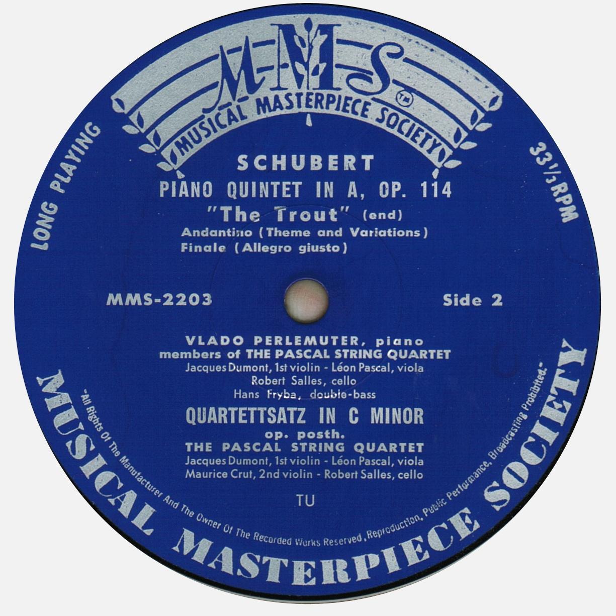 Étiquette verso du disque MMS-2003 de la Musical Masterpiece Society, gravé et pressé chez Turicaphon (http://www.turicaphon.ch/), Cliquer sur la photo pour une vue agrandie et quelques infos