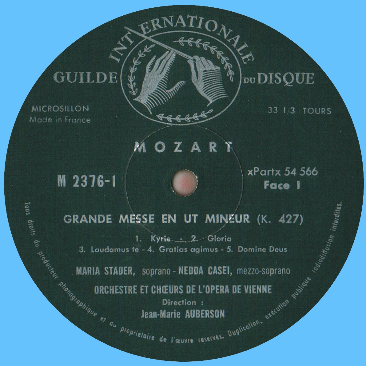 Étiquette recto du 1er disque de l'album Musical Masterpiece Society MMS 2376
