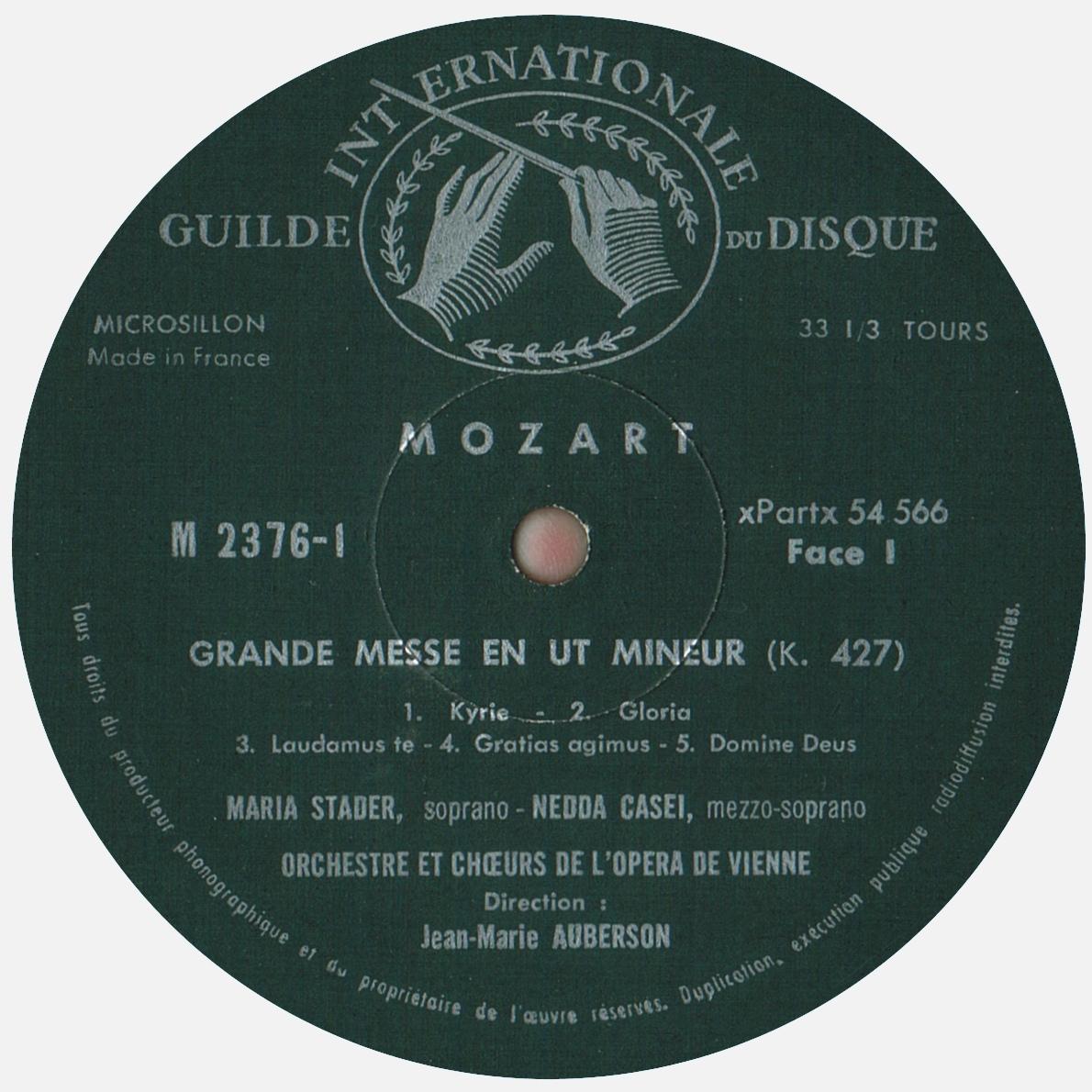 Étiquette rect du 1er disque de l'album Musical Masterpiece Society MMS 2376