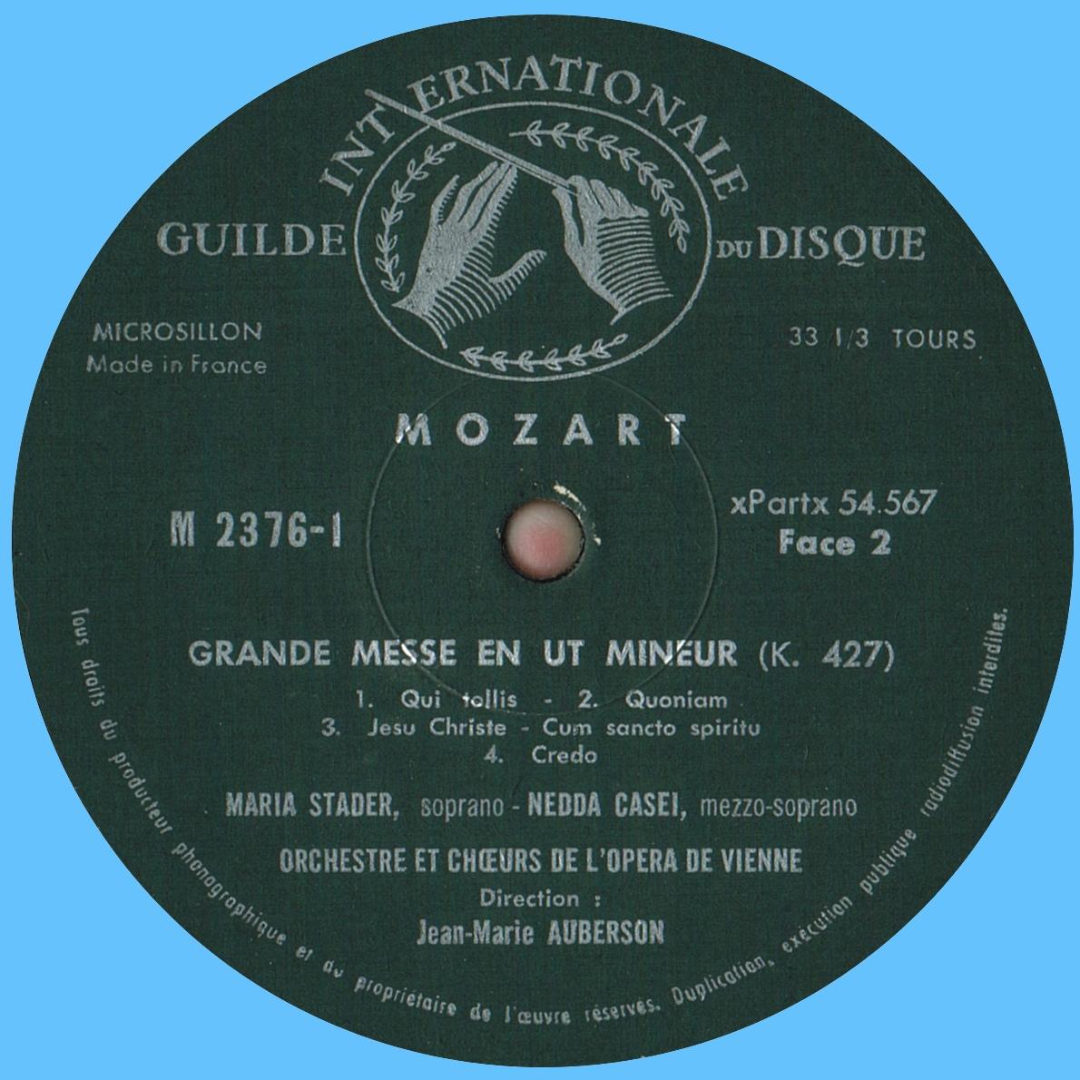 Étiquette verso du 1er disque de l'album Musical Masterpiece Society MMS 2376