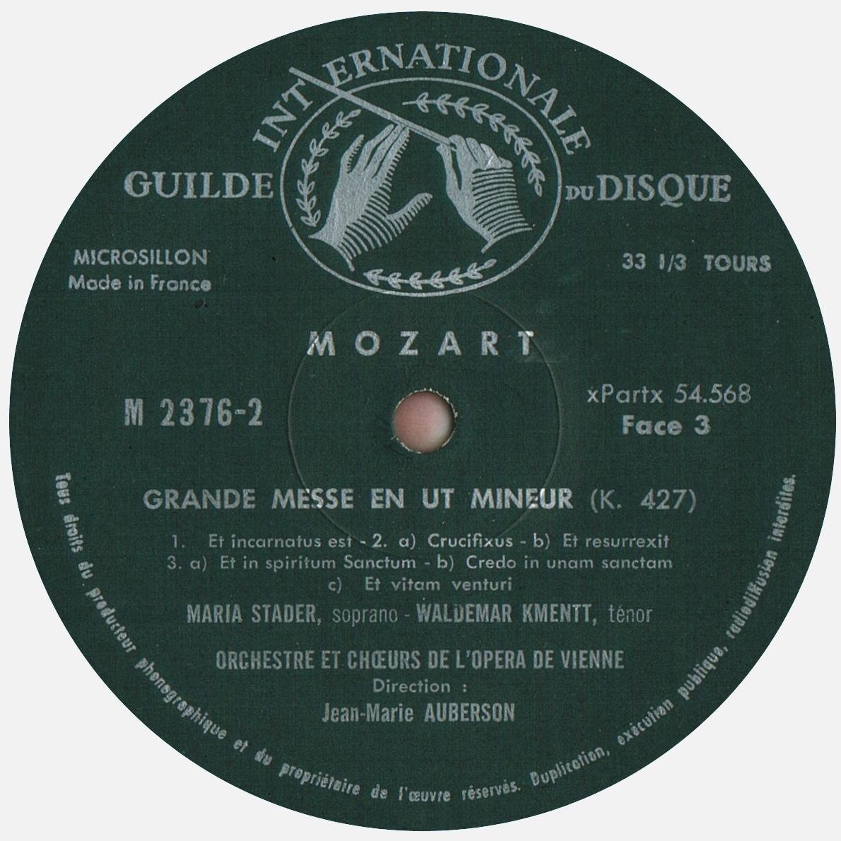 Étiquette recto du 2e disque de l'album Musical Masterpiece Society MMS 2376