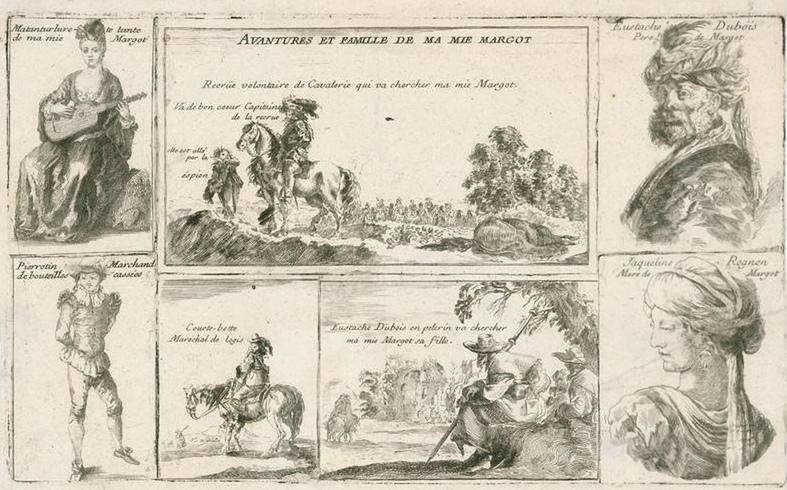 Une illustration des «Avantures et famille de ma mie Margot», fin 17e siècle