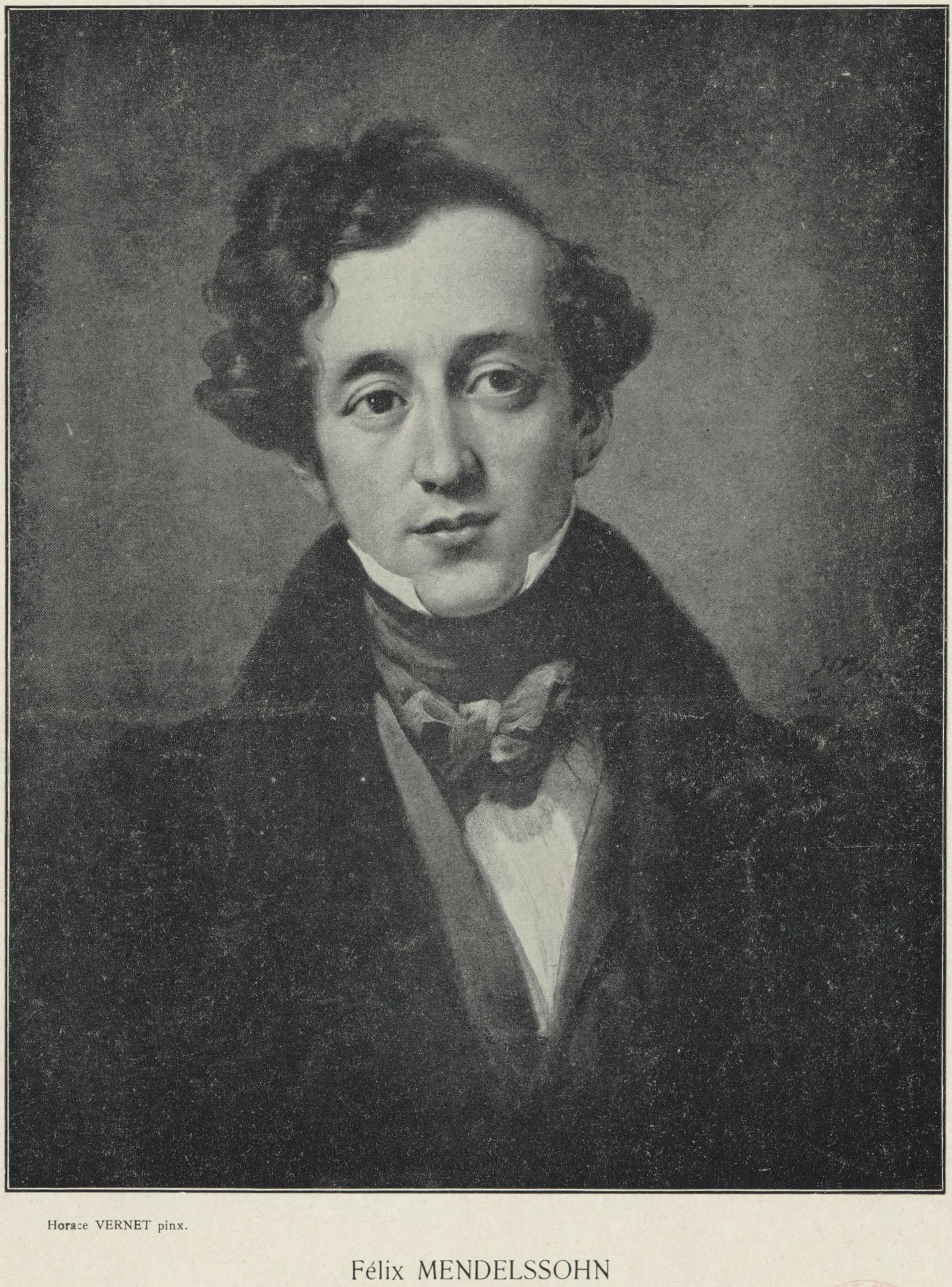 Felix Mendelssohn, reproduction d'un tableau d'Horace Vernet (1789-1863). Date d'édition: 1911. 1 impression photomécanique 20 x 15,5 cm. Droits: domaine public. Identifiant: ark:/12148/btv1b84225303. Source: Bibliothèque nationale de France. Notice de recueil : http://catalogue.bnf.fr/ark:/12148/cb38642756c. Notice du catalogue: http://catalogue.bnf.fr/ark:/12148/cb39621816w, cliquer pour plus d'infos