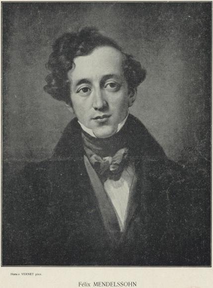 Felix Mendelssohn, reproduction d'un tableau d'Horace Vernet (1789-1863). Date d'édition: 1911. 1 impression photomécanique 20 x 15,5 cm. Droits: domaine public. Identifiant: ark:/12148/btv1b84225303. Source: Bibliothèque nationale de France. Notice de recueil : http://catalogue.bnf.fr/ark:/12148/cb38642756c. Notice du catalogue: http://catalogue.bnf.fr/ark:/12148/cb39621816w