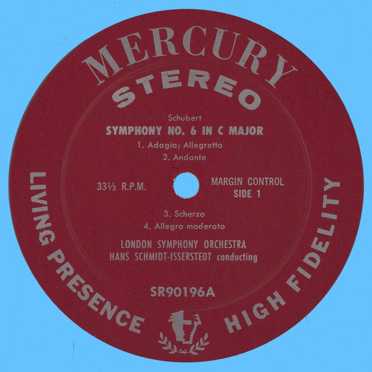 Étiquette recto du disque Mercury SR 90196
