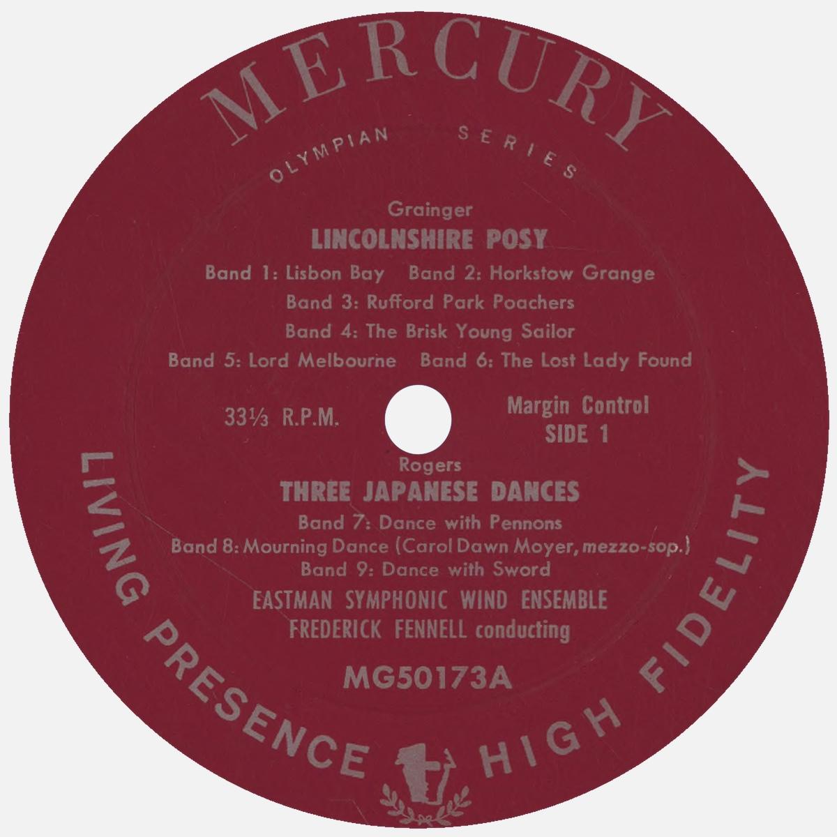 Étiquette recto du disque Mercury Living Presence MG 50173