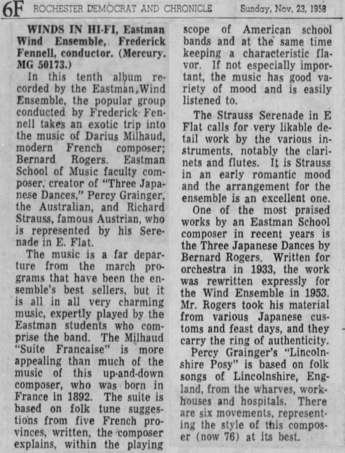 Extrait du quotidien Democrate end Chronicle, Rochester, 23 novembre 1958, page 94