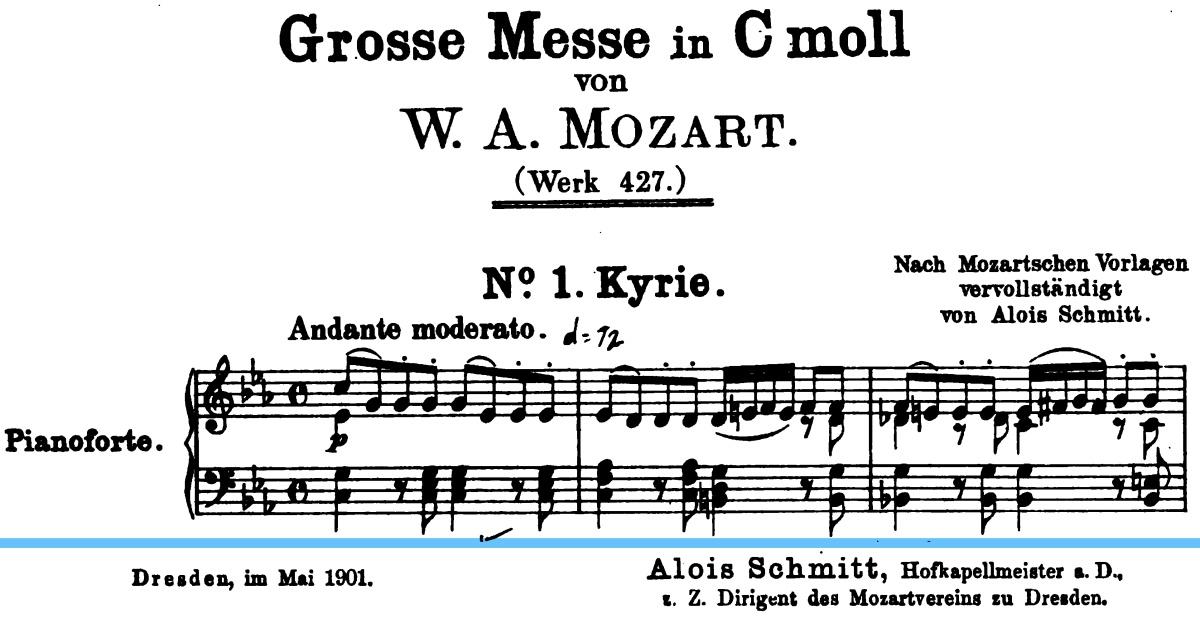 Extrait de la partition complétée par Georg Aloys Schmitt, dans sa première édition de 1901