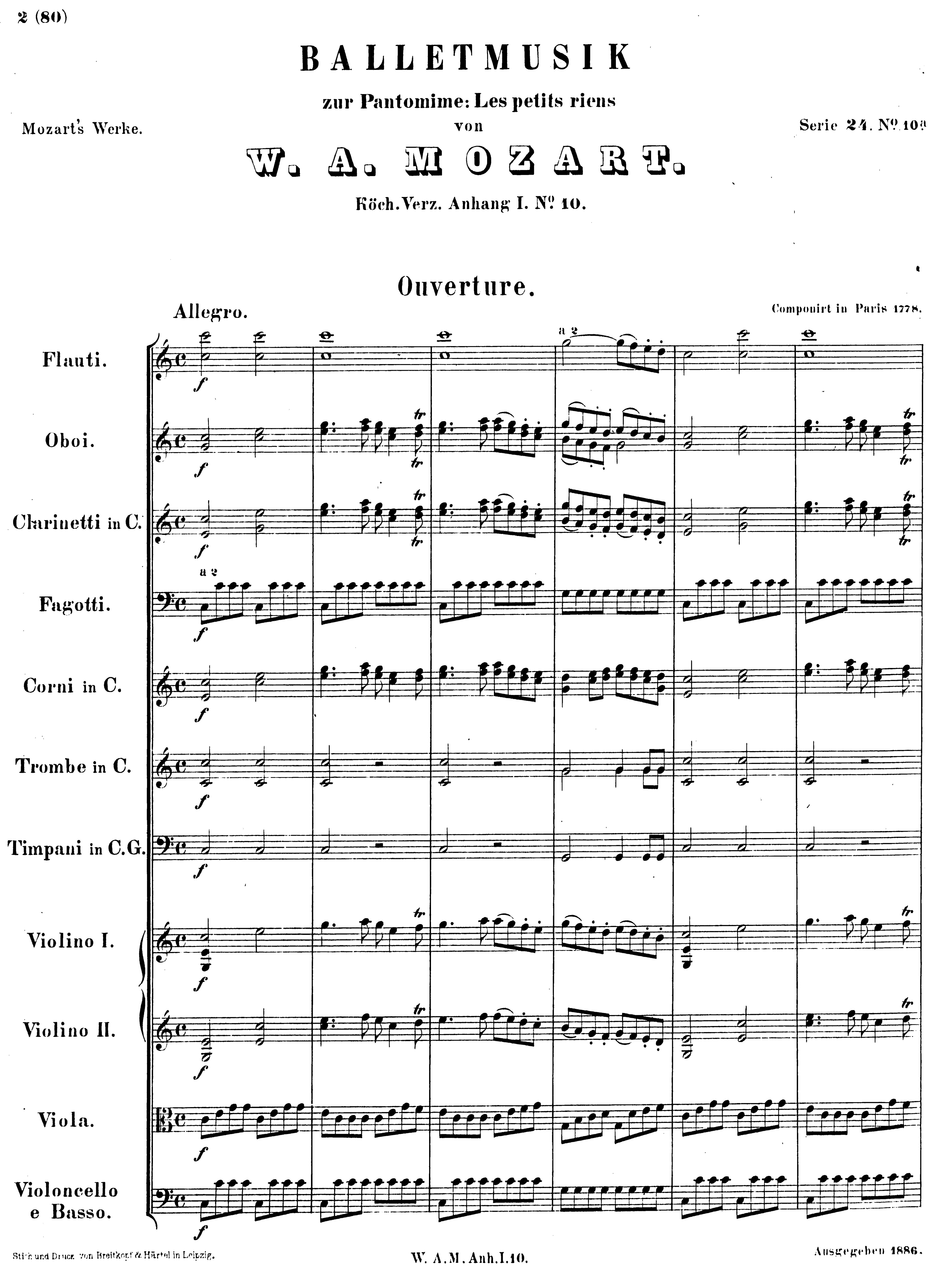 Première page 1ère édition Breitkopf&Härtel, cliquer pour voir l'original et ses références