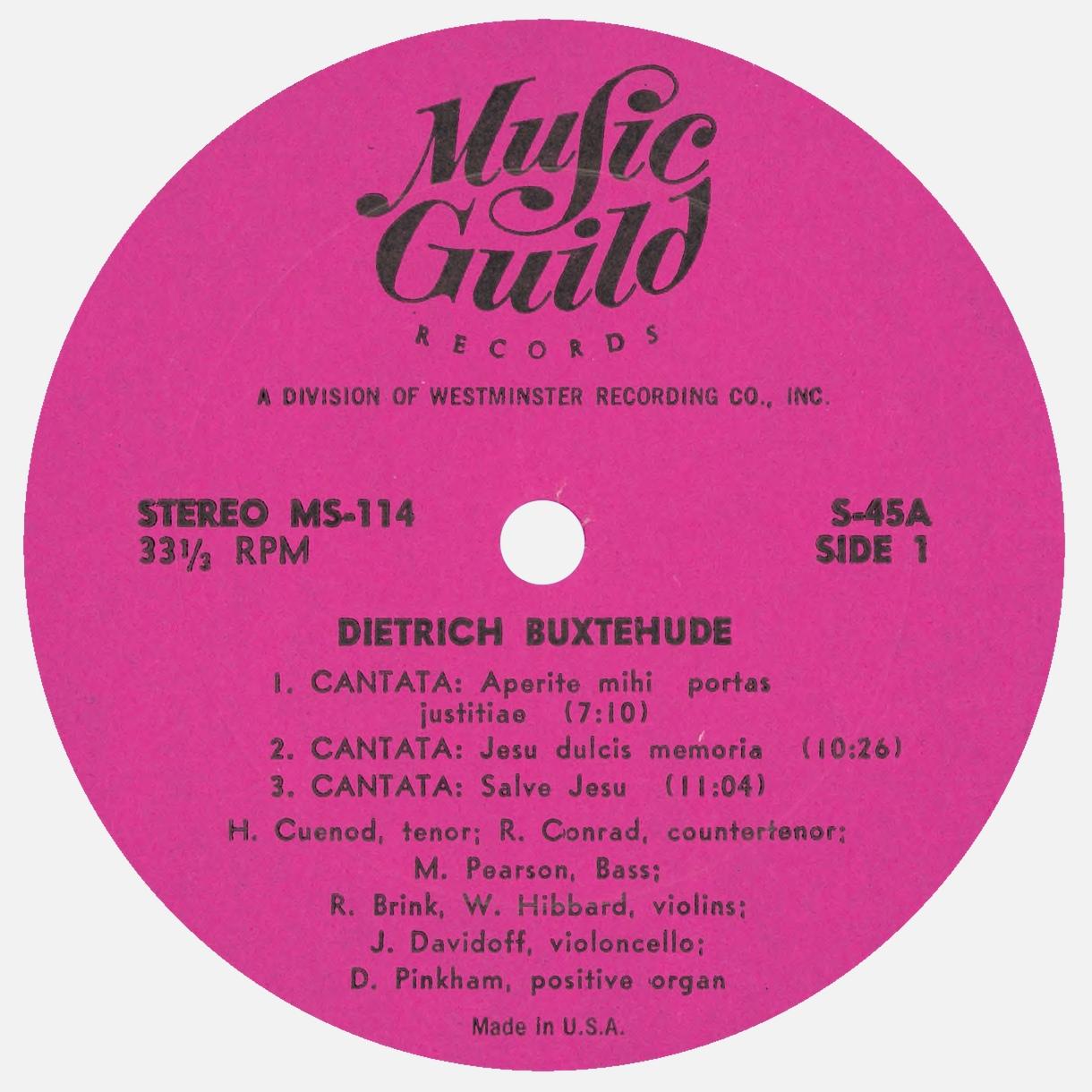 Étiquette recto du disque Music Guild Records MS-114