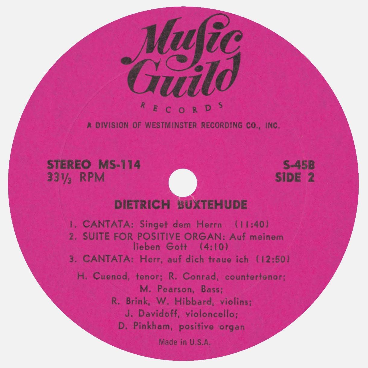 Étiquette verso du disque Music Guild Records MS-114