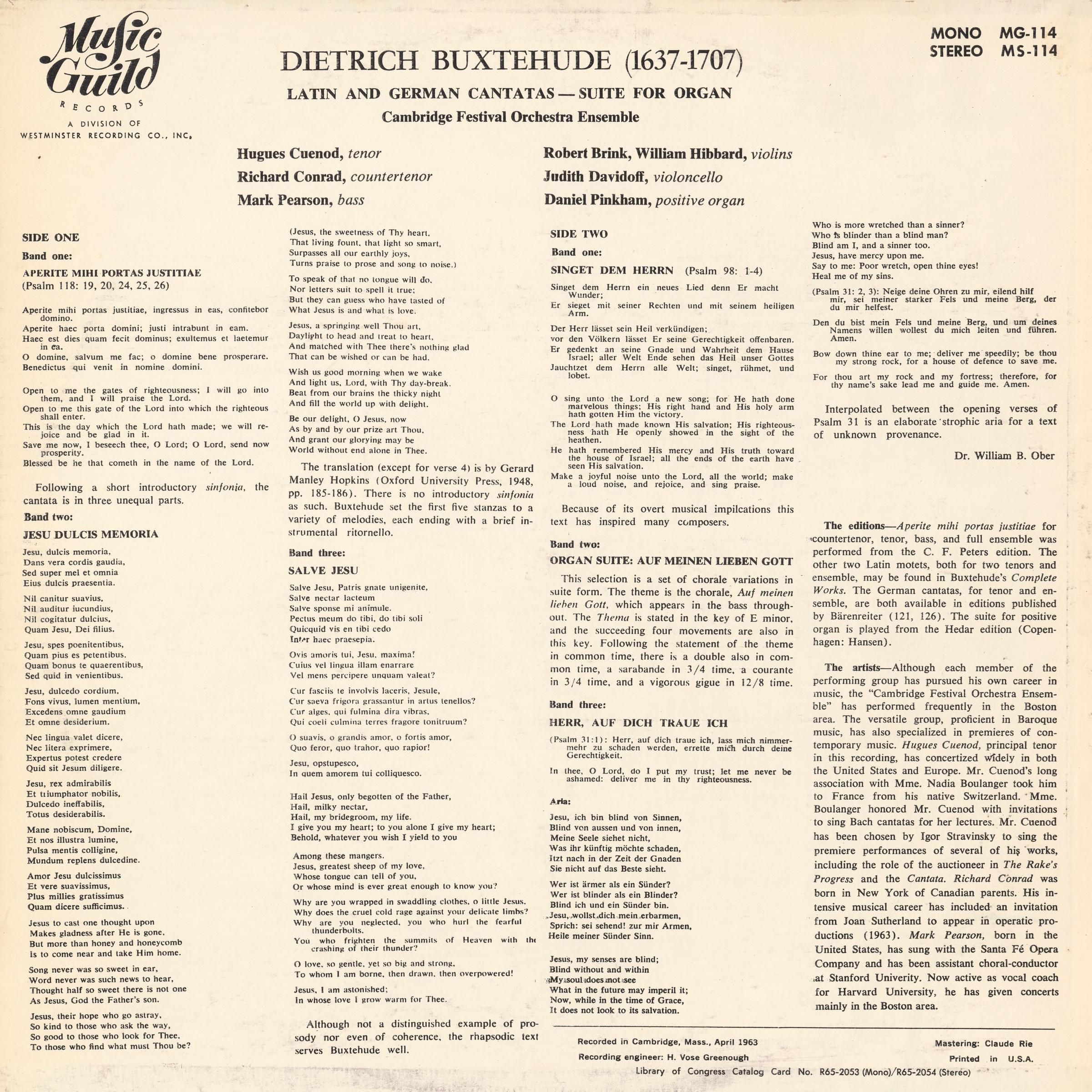 Verso de la pochette du disque Music Guild Records MS-114