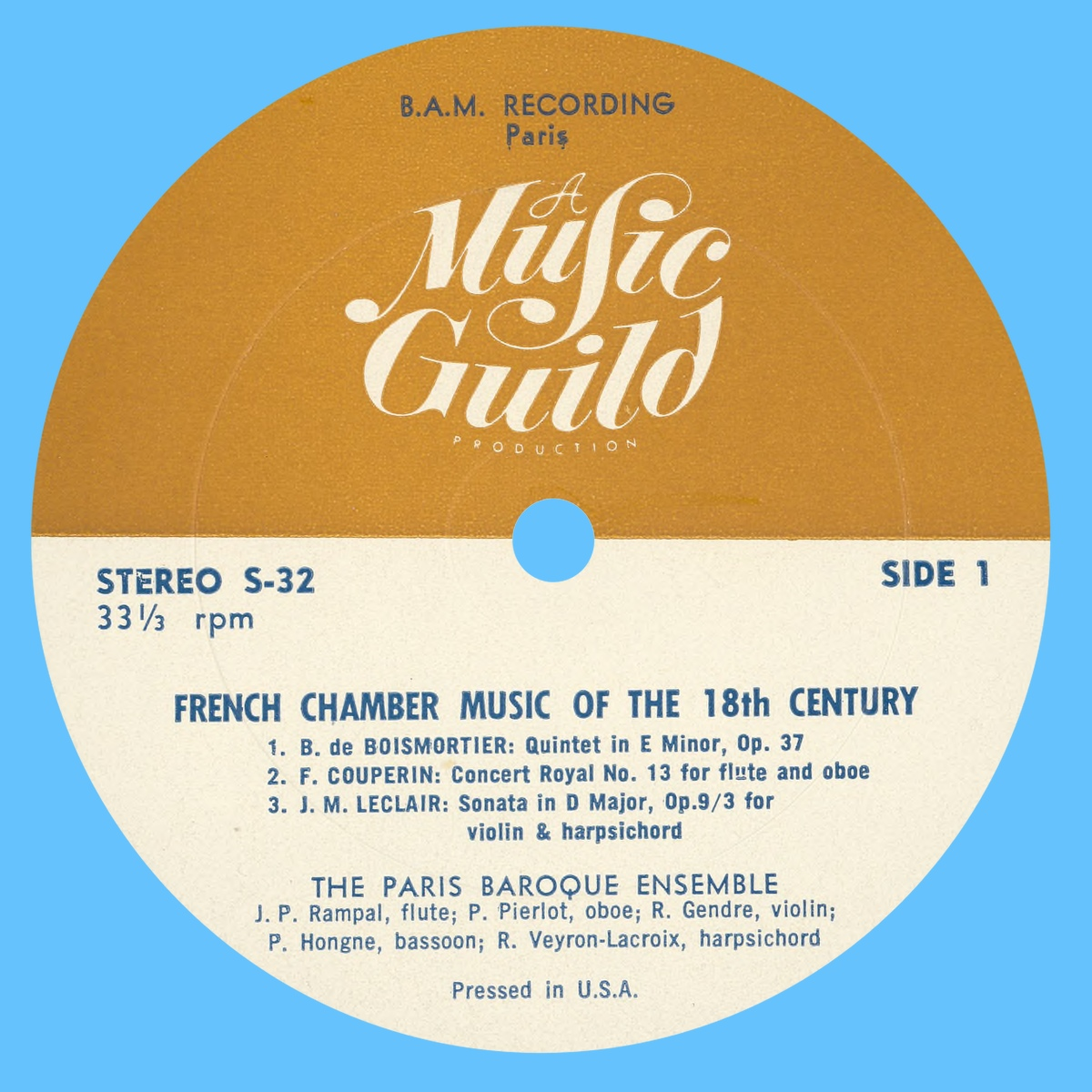 Étiquette recto du disque Music Guild Stereo S-32