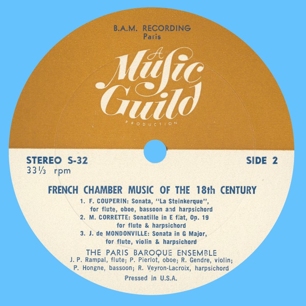Étiquette verso du disque Music Guild Stereo S-32