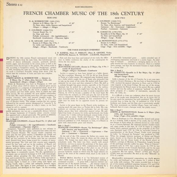 Verso de la pochette du disque Music Guild Stereo S-32