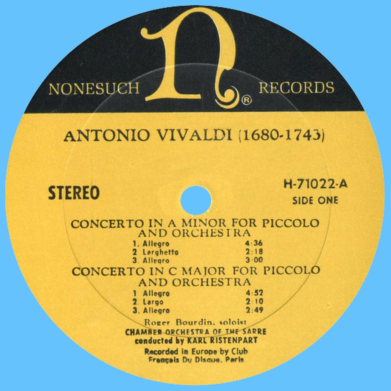 Étiquette recto du disque Nonesuch H 71022